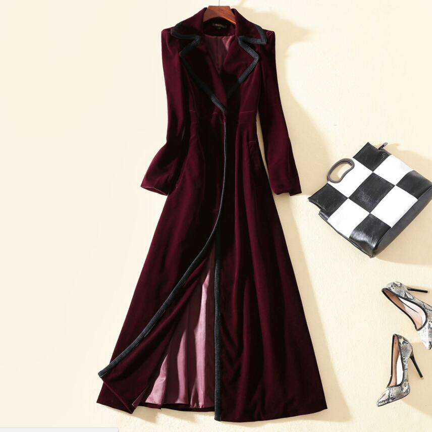 plus size 2XL New 2018 Winter Women Vintage TURN DOWN COLLAR Wrap Black Velvet Maxi Coat Thick Warm Long   Trench   Coat
