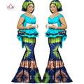 2017 Весна юбка набор африканский дизайн одежды традиционная Базен Riche базен печати плюс размер юбка установить вечернее платье WY1312