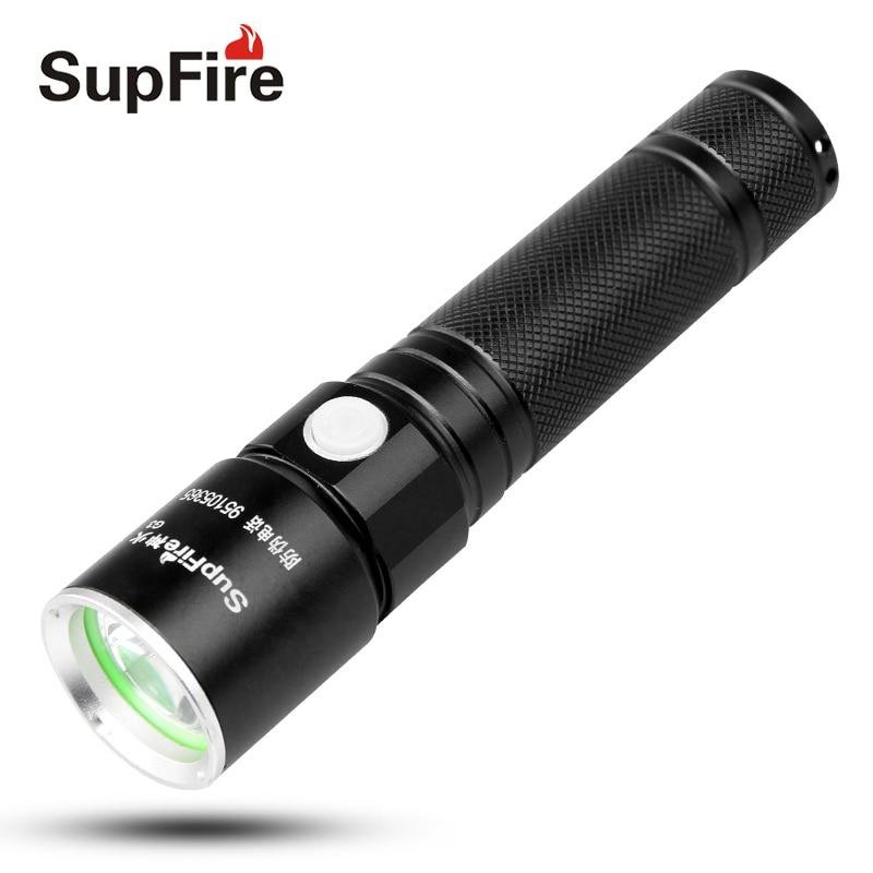 Supfire USB lampe de Poche LED Torche Lumière Camping Lumière G3 Tactique lampe de Poche IP67 Étanche Bike Light VS Alonefire Lumière S105