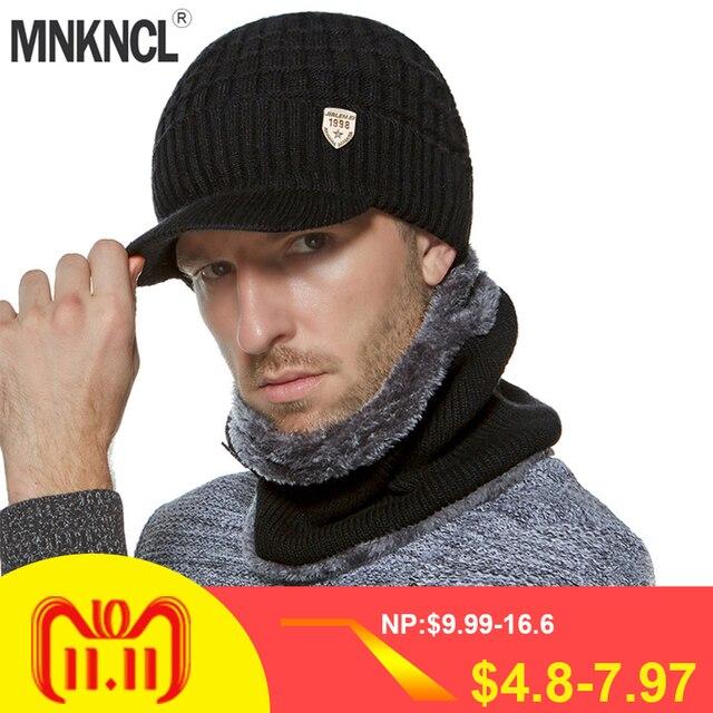 MNKNCL Winter Beanies Men Scarf Knitted Hat Cap Mask Gorras Bonnet Warm  Baggy Winter Hat For 3c8490d55808