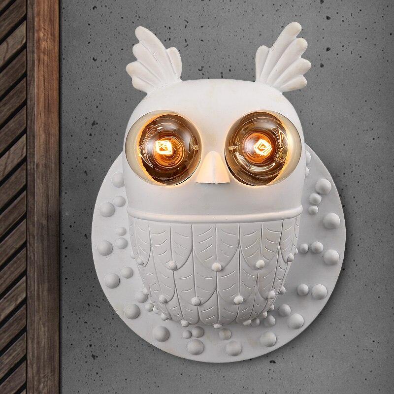 Творческая детская комната белая сова Настенные светильники спальня ночники простой американский коридорах сова стены освещения lu71122-Ю. М.