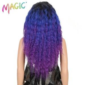 Image 4 - Pelucas de pelo largo negro y morado con encaje frontal para mujeres negras, pelucas de pelo sintético con encaje frontal de 26 pulgadas, resistente al calor