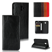 LUCKBUY For Samsung Galaxy J4 Plus Retro Business Style Genuine Leather Stand Wallet Phone Bag for J6 Book case capa
