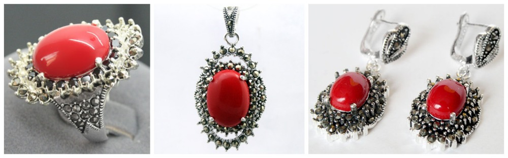 Mode rouge sculpté laque Marcasite 925 Sterling floeer anneau (#7-10) boucles d'oreilles et Pandent bijoux ensembles