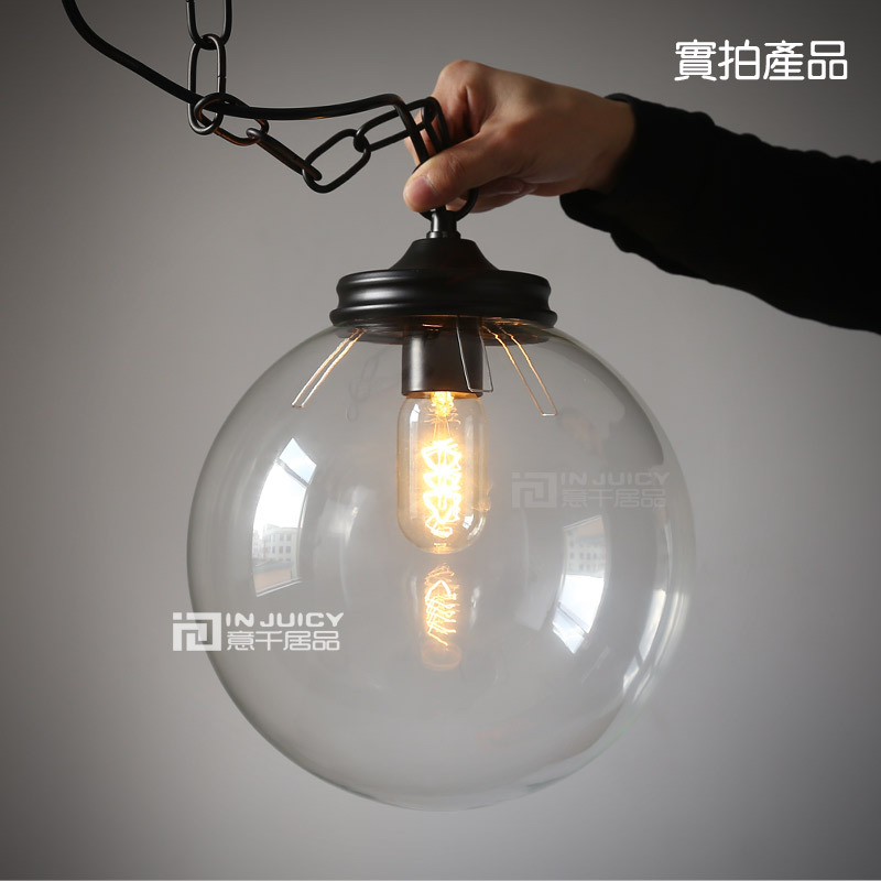 20CM Glass Ball Vintage Stytle Industrial Ceiling lamp Pendant Droplight Cafe Bar Coffee Shop Bedside Hall Way Store Shop Club 32cm vintage iron pendant light metal edison 3 light lighting fixture droplight cafe bar coffee shop hall store club