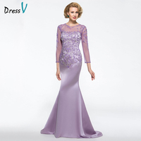 Dressv Purple Mother Of The Bride Dress Jewel Neck Appliques Sheath Three Quarter Sleeves Custom Wedding Party Mother Dress