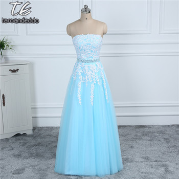Cheap Price US4 Size Only ONE PIECE Lace Applique Beading Sash Soft Blue Prom Dress Outdoor Destination Formal Party Dress