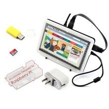 Micro PC Raspberry Pi Accessory F =RPi 7inch HDMI LCD Capacitive Touch Screen + Bicolor Case+ 16GB Micro SD card + Power Adapter