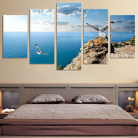 5 Piece Blue Ocean Seascape Canvas Art Paintings Birds Fly In The Sky Wall Pictures for Home or Living Room Decorations Hot Sale