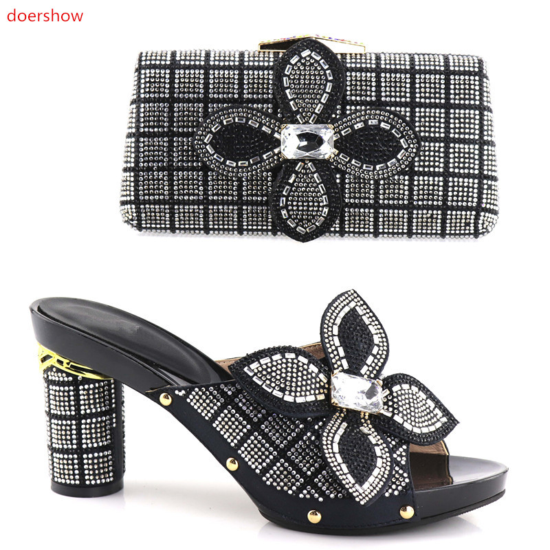 doershow African Fashion Italian Nigerian Party Dress Bag Matching Shoe Set with BLACK Shoes And Bag Set!HV1-30 doershow yellow shoe and bag set african sets italian shoes with matching bags set decorated with stones nigerian party nj1 12