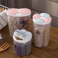 OTHERHOUSE przezroczyste pojemniki do przechowywania w kuchni ziarna ziarna zbóż sortowania pojemnik do przechowywania pudełko ryżu zaplombowane pudełko z przegrodą w Butelki  słoiki i pudełka od Dom i ogród na