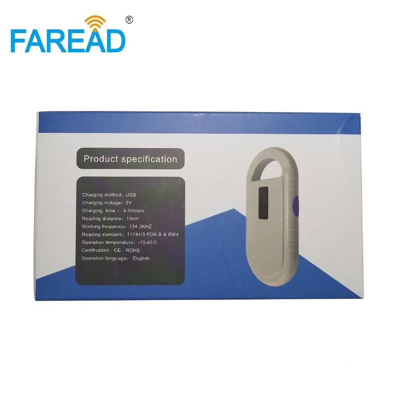 Livraison gratuite 134.2kHz ISO11784/85 FDX-B RFID chien chat puce scanner lecteur de puce pour animal