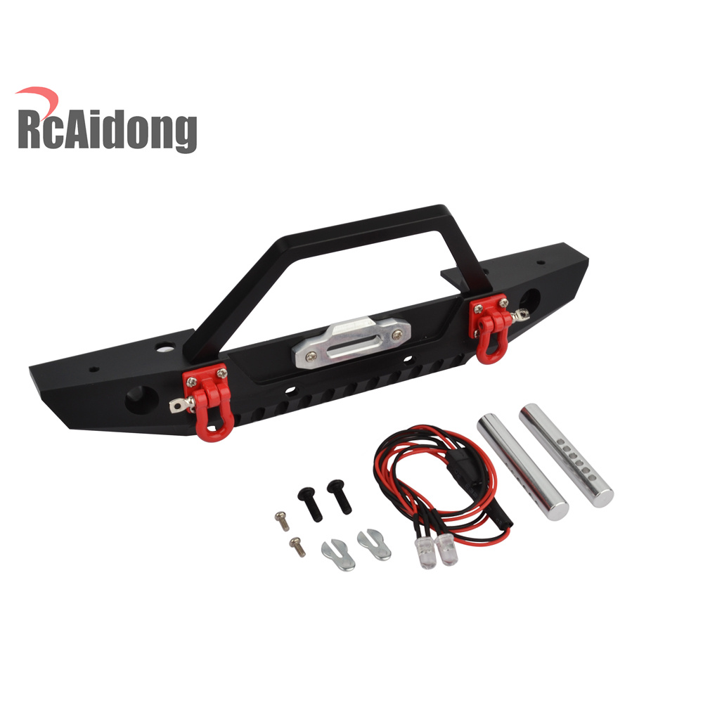 RCaidong 1/10 Front Bumper Bull Bar with LED Headlights Winch Mount Seat for 1/10 AXIAL SCX10 RC Rock Crawler