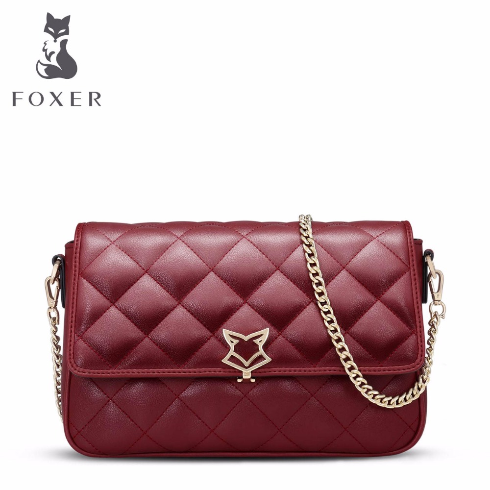 FOXER Women Leather Luxury Handbags Ladies Messenger Bag 2017 Chain Shoulder Bags Designer Small Clutch Cross body for Girls giaevvi luxury handbags split leather tote women messenger bags 2017 brand design chain women shoulder bag crossbody for girls
