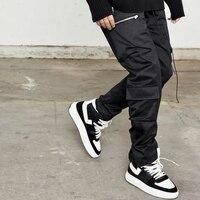 Ankle length Leg Snap Pants Military Zip Pockets Twill Cotton Jogging Kanye Track Pants Men Hip Hop Streetwear