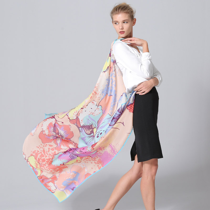 Top grade silk scarf print silk scarves wholesale 100% silkworm silk shawl 120cm*120cm gift for women