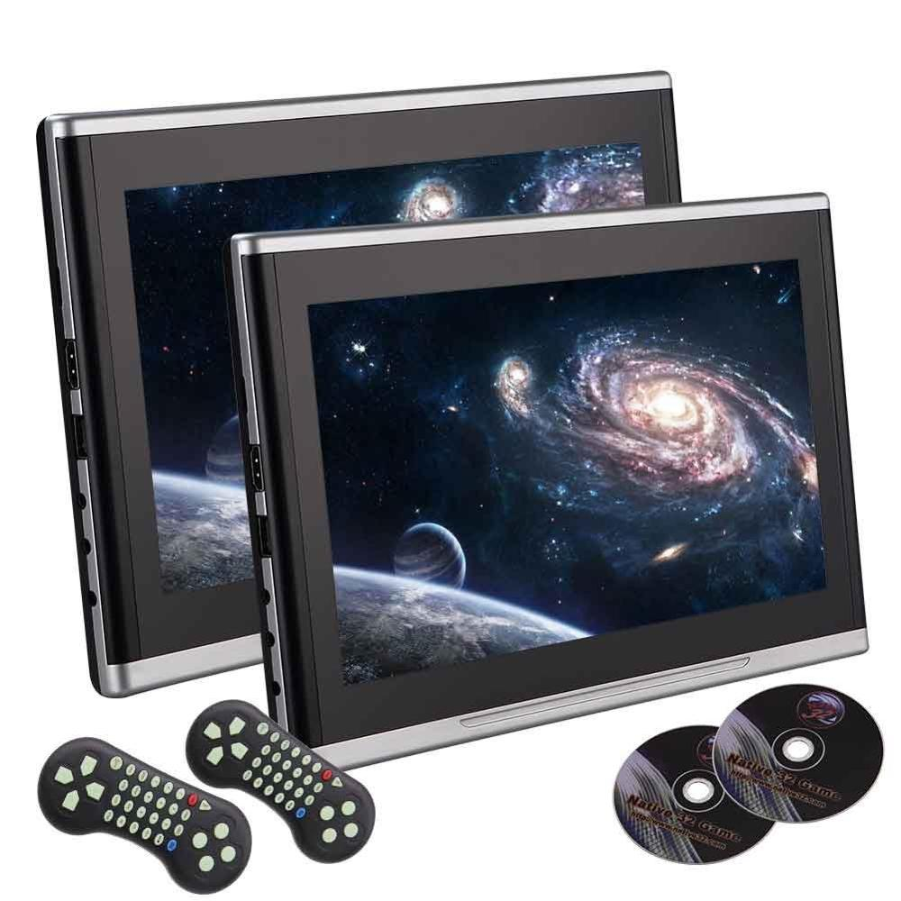 10.1 inch Black Car DVD/USB/SD/Headrest Video Player LCD Monitor Dual Screen DVD Player Rear seat Entertainment HDMI Multi-media car headrest dvd player with pair of headset 11 6 lcd dual screen rear seat monitor black support usb sd hdmi input ir fm