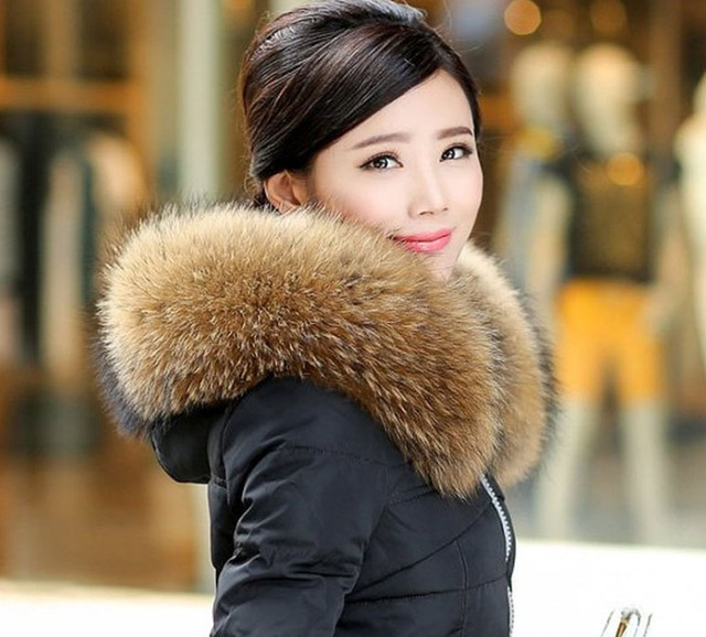 New Big Size 100% Real Large Raccoon Fur Scarf and Collar 70cm 80cm Luxurious Women Winter Warm Coat Fur Scarves Fashion Wraps