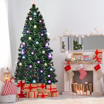 Goplus 7Ft Pre-Lit Fiber Optic Artificial Christmas Tree w/ Multicolor Lights & Stand CM20649