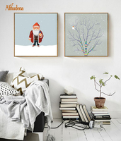 Almudena装飾リビングルーム北欧ミニマリズムクリスマス男ファンタスティックツリー壁アート作品風景キャンバス画像いいえフレー