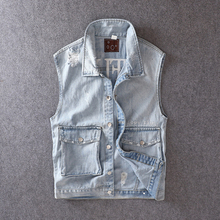 British Style Fashion Men Vest Light Blue Embroidery Designer Ripped Sleeveless Denim Jackets Streetwear Hip Hop Homme