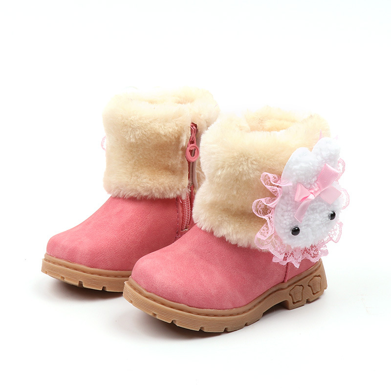 Winter Girls Boots Warm Cotton With Cartoon Rabbit Lace Kids Boots Fashion Snow Boots Children Winter Shoes Toddler Girl