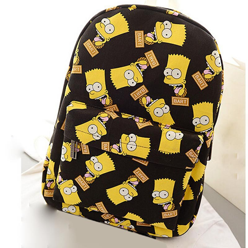 New Fashion Backpack Female Edition of Cartoons Graffiti Bag Printed Canvas  Bart Simpson Backpack Tide Male Students  20-in Storage Bags from Home    Garden ... 0ce5ee889b362