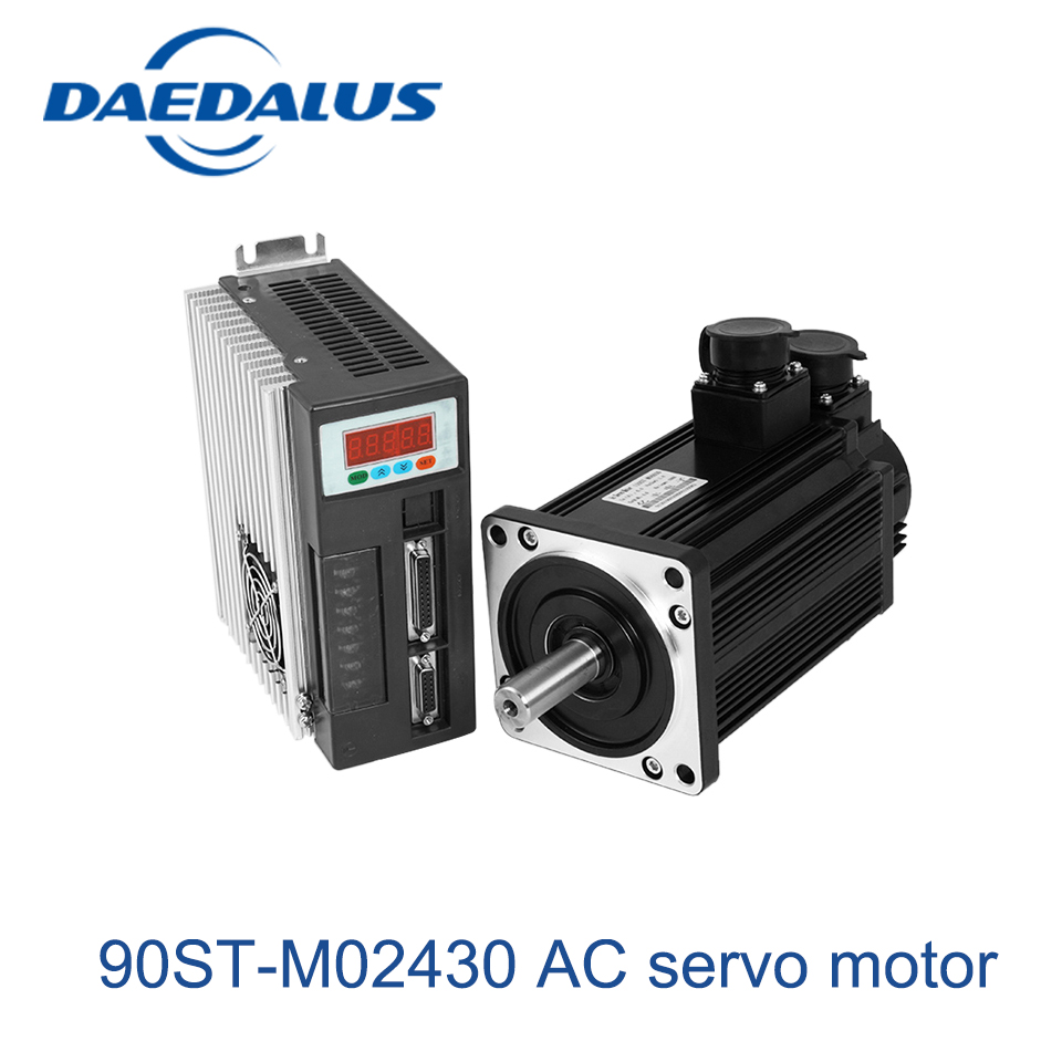 AC servo motor 90ST-M02430 ac motor 220v Single-Phase motors + servo driver 0.75KW 3000RPM 2.4N.M 57 brushless servomotors dc servo drives ac servo drives engraving machines servo