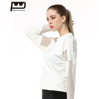 New Women S Long Sleeves T Shirt Mesh Patchwork Sports Tops Sexy Hollow Out O Neck