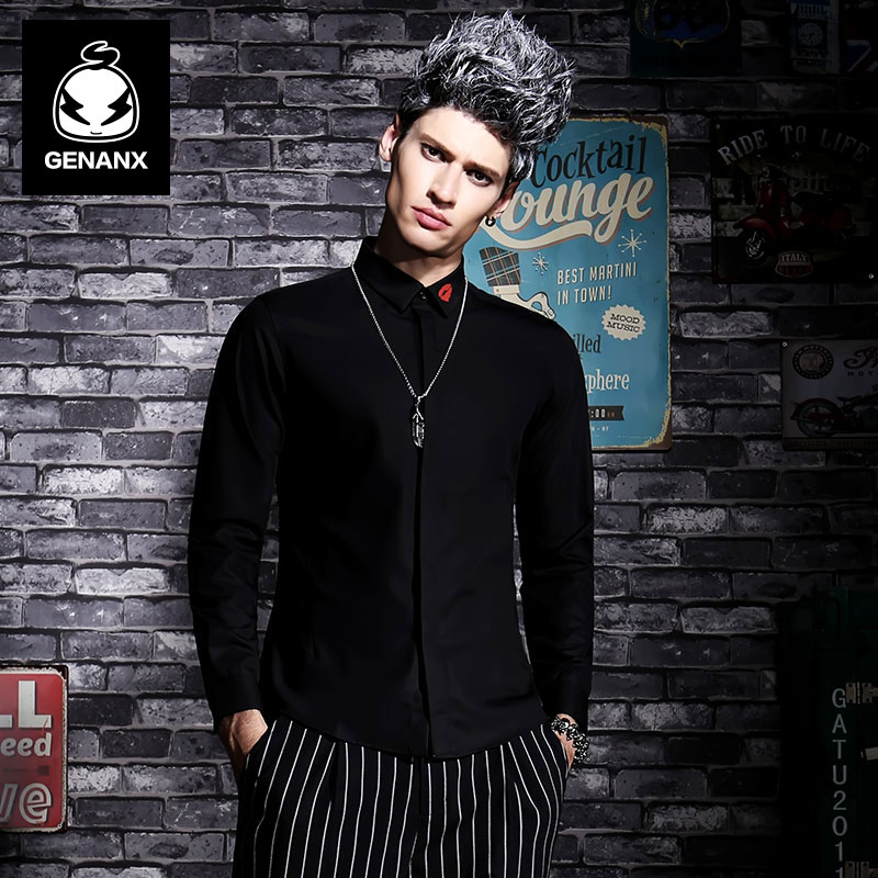 GENANX Brand Fashion Slim Shirt Male Casual Shirt Printing Business Leisure City Style Size M-XXL