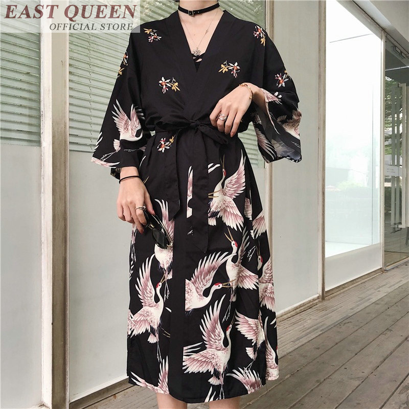 Japanese kimono traditional woman 2019 long kimono cardigan cosplay blouse shirt yukata female Japanese dress haori geisha KZ001