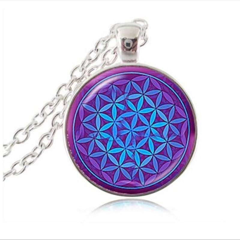 @1  фиолетовый синий ом кулон ожерелье цветок жизни ювелирные изделия мандалы заявление ожерелье длинные ✔