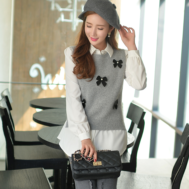 Original New 2016 Brand Autumn and Winter Fashion Bow Vest Sweater Women Plus Size Wholesale