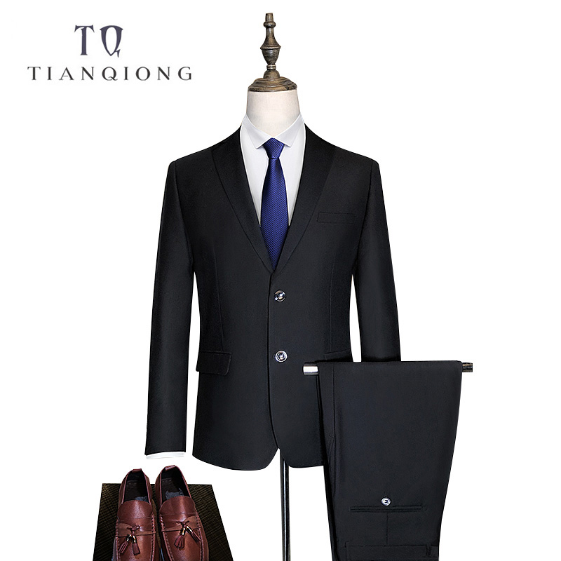 TIAN QIONG Blue Black Custom Made Suit Men New Fashion 2 Piece Wedding Cheap Tailor Made Suits Plus Size Casual Ternos Masculino