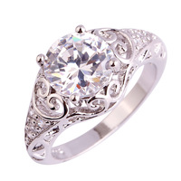 lingmei New Gift Dazzling White Topaz  Silver Ring Size 6 7 8 9 10 11 Trendy Elegant Wholesale Jewelry For Women Nice Wedding