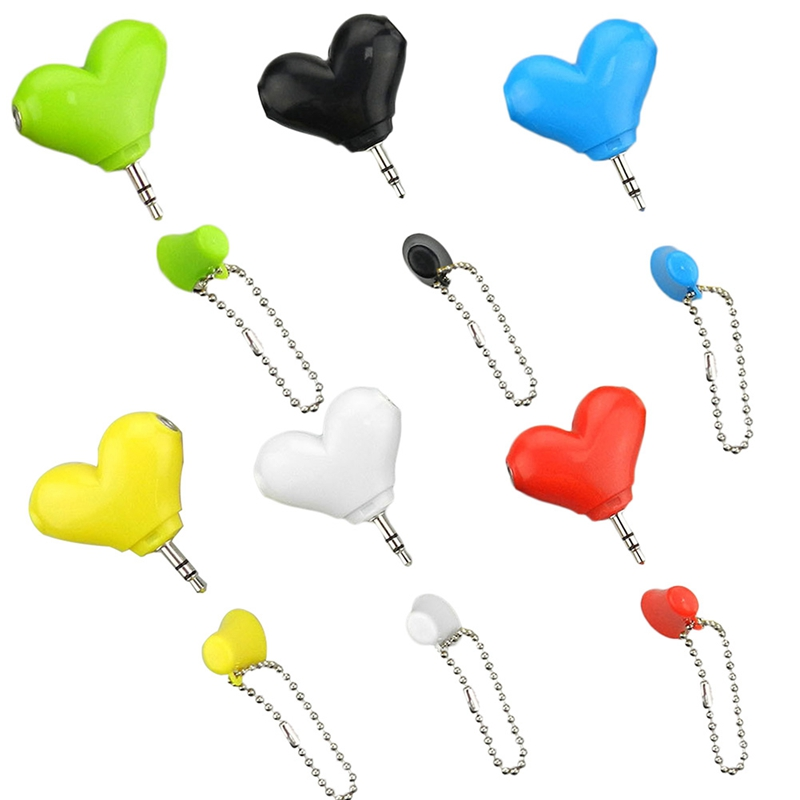 Mini Cute Heart-shaped 3.5mm Double Jack Adapter To Earphone Connector For IPhone 6s MP3 Player Splitter Adapter