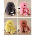 2016 New Stylish Multicolor Bunny Rex Rabbit Fur Keychain Pendant Bag Car Charm Tag Key Chain Ring Mini Rabbit Toys Doll Pom Pom