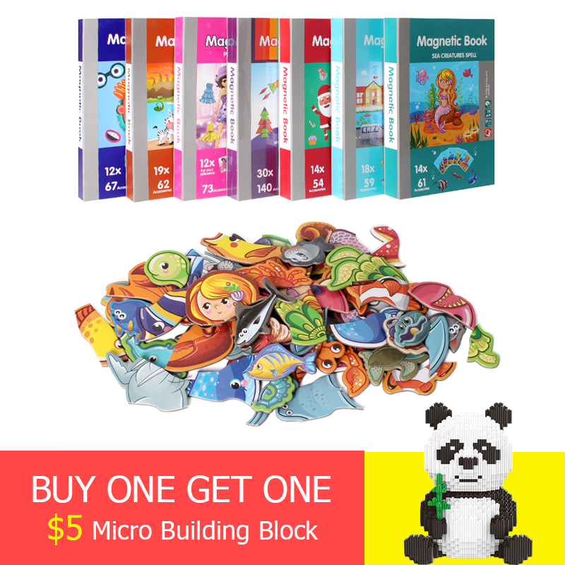 7 Types Children's Intelligent Magnetic Book 3D Puzzles Jigsaw Brain Training Game Educational Toys For Kids Xmas Gift(China)