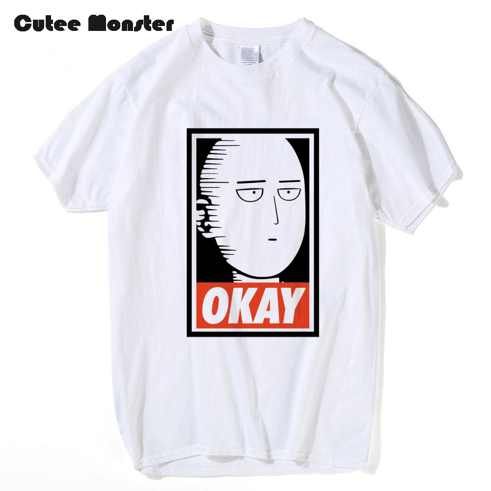 Saitama Oppai t shirt men One Punch Man Hero T-shirt 2017 Summer Fashion Cartoon Short Sleeve OKAY tops tee size 3XL