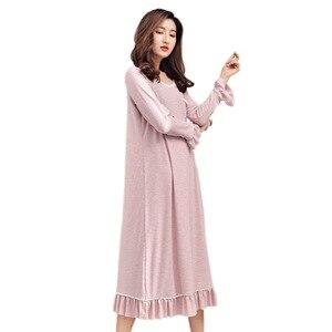 Image 5 - Summer Lotus Leaf Sleepwear Womens Lingerie Nightgown Naked Sleeping Home Dress Summer Long Sleeve Night Gown Set Sleep Wear