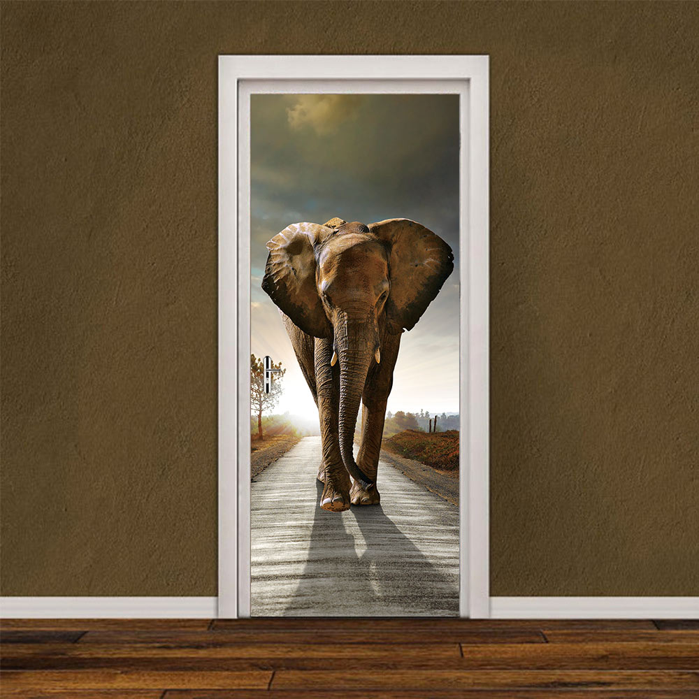 HOT Sale  3D Cute Elephant Door Sticker DIY Mural Selfadhesive Wallpaper Removable Waterproof Poster Stickers Home Decor Decals