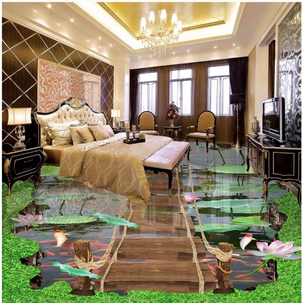 ФОТО Free Shipping custom stereo Lotus pool wooden walkway floor painting high quality self-adhesive floor wallpaper
