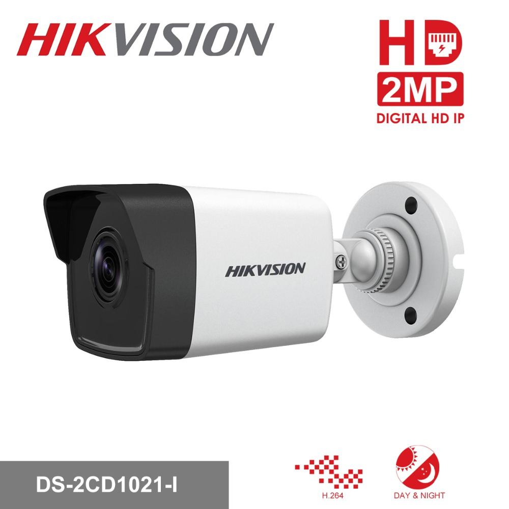 Hikvision 1080P Security Camera Outdoor DS-2CD1021-I 2MP CMOS Bullet CCTV IP Camera with Day&Night Version IP67 No SD Card Slot hikvision new english version ds 2ce56d5t vfi cctv turbo hd camera 1080p 2mp with ir day night security video surveillance