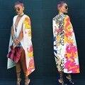 Высочайшее качество высокий дизайн 2016 плащ рукав макси длинное платье сексуальные платья печати новинка платье повязки