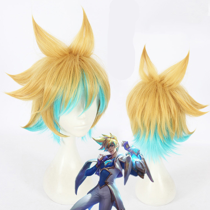 Game LOL the Prodigal Explorer Ezreal  cosplay wig Ezreal mix colors styled hair wig costumes