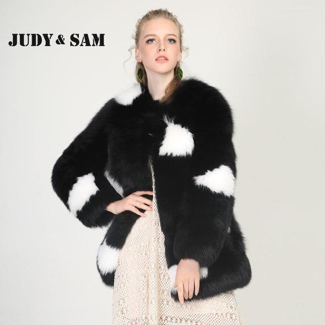 f8ff8fbe9 US $525.0 |Luxury Full Pelt Fox Fur Coat Women 2 Colors Real Fox Fur Polka  Dot Winter Warm Outside Thick Warm Fur jacket Soft Cloth-in Real Fur from  ...