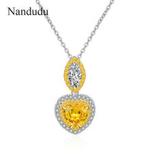 Nandudu AAA Zircon Heart Pendant Necklaces Crystals for Women Girls Gift Silver Color Chain Kids Jewelry Decorations CN537(China)