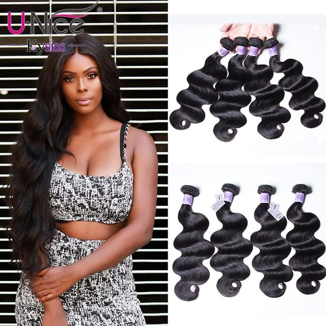 "UNice Hair Kysiss Series Brazilian Body Wave 4 Bundles 8-30"" 100% Human Hair Extension Natural Color Virgin Hair Weave"