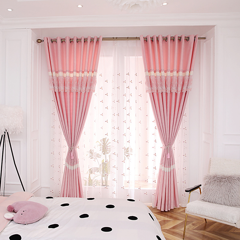 Modern Pink Girl Cotton And Hemp Stitching Shading Curtains For Living Dining Room Bedroom.