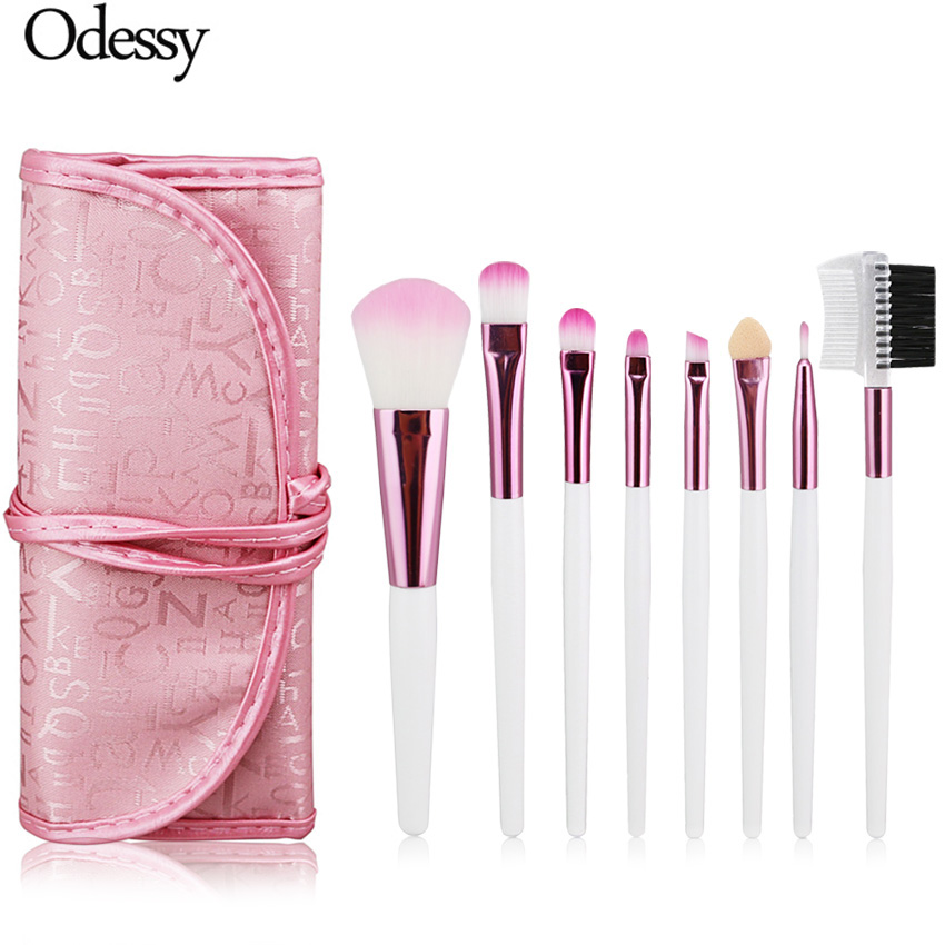 ODESSY Makeup Brush Eyeshadow Brushes Professional Make Up Brush Set Eye Brushes for Makeup Eyebrow Comb 8 PCS Pink with Case 12pcs lot professioal makeup brush set with black leather case eyeshadow eyebrow sponge make up brushes 2 color makeup brushes